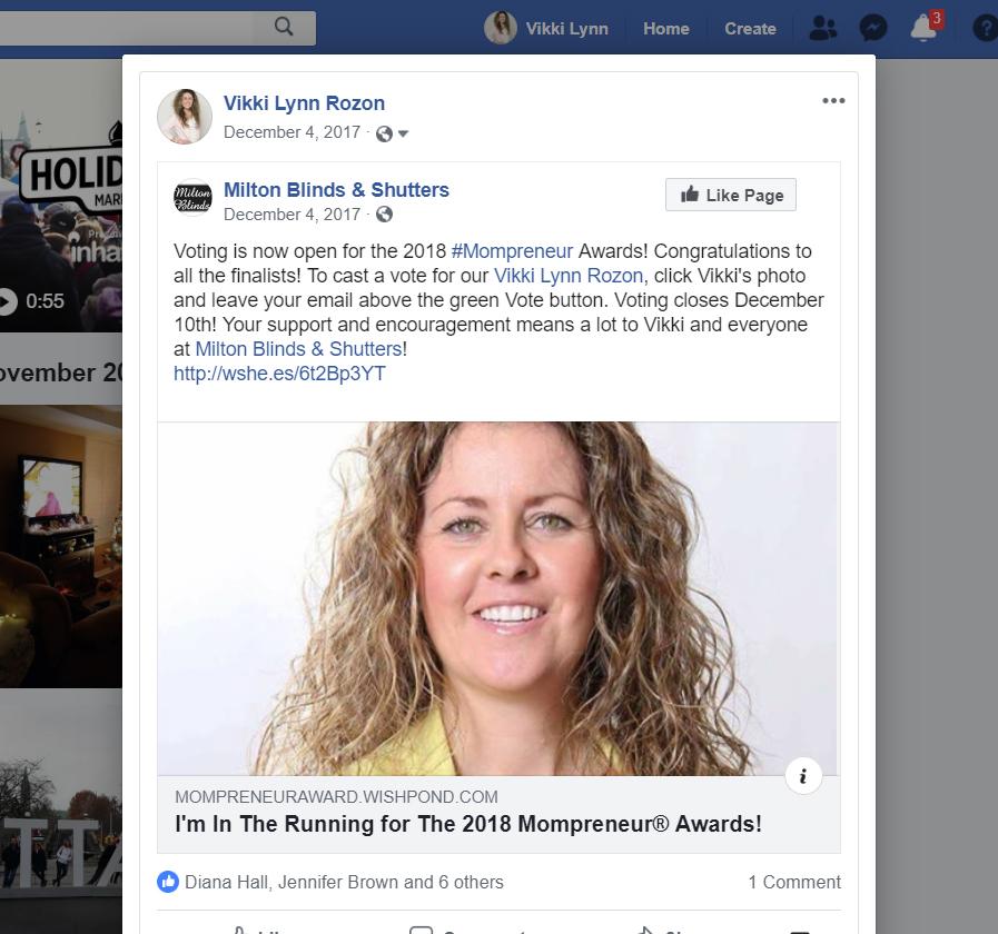 Vikki Lynn Rozon on her 2018 #Mompreneur Award Nomination