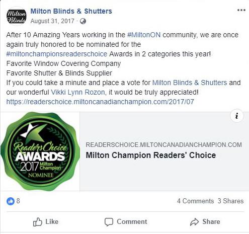 MILTON CHAMPION READERS' CHOICE AWARD 2017